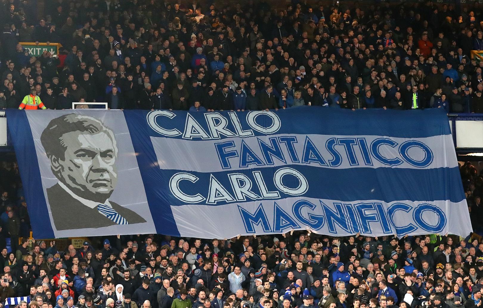 Carlo Ancelotti, ídolo de masas desde el primer día en Goodison Park