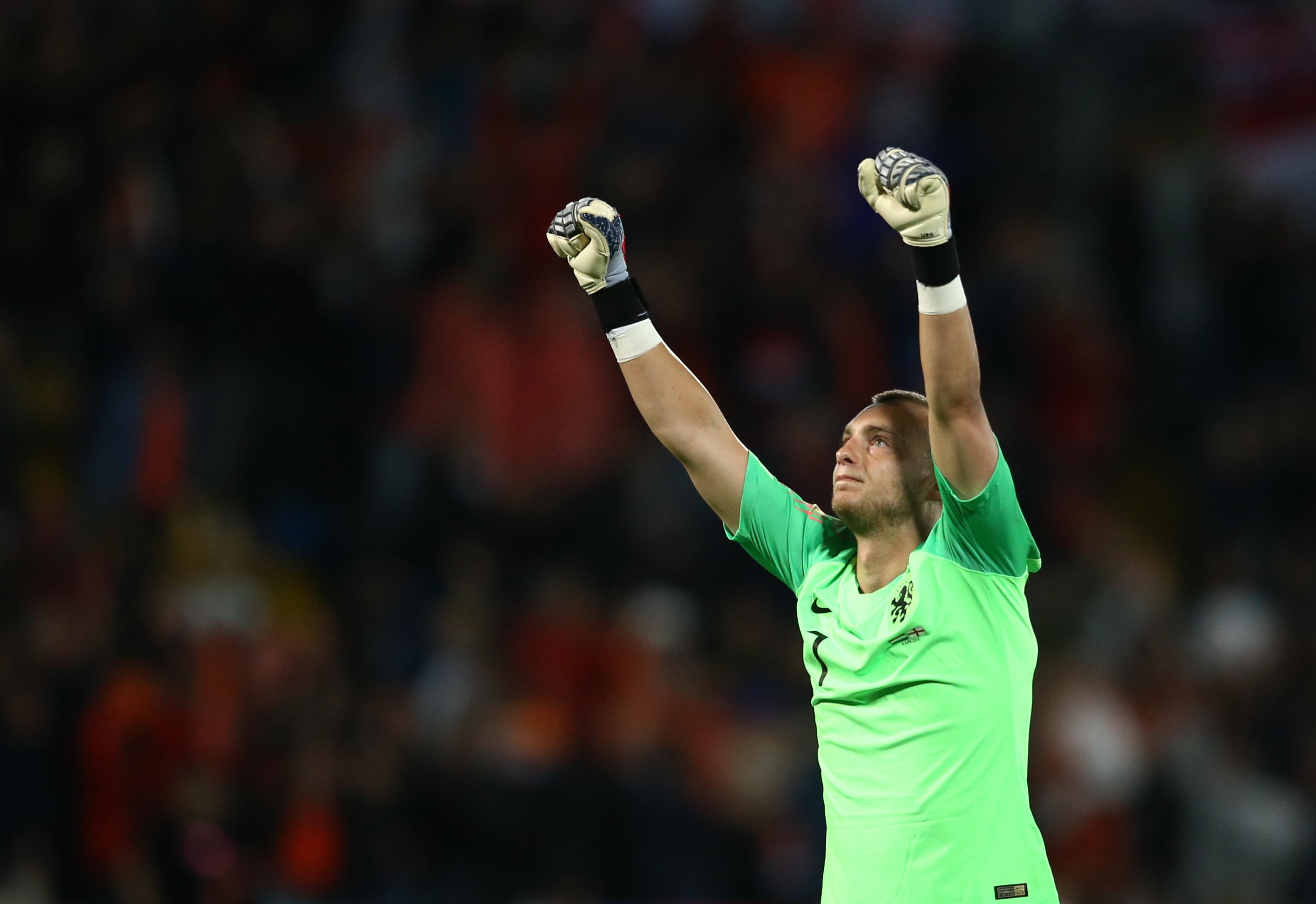 Jasper Cillessen celebra la victoria de Holanda sobre Inglaterra