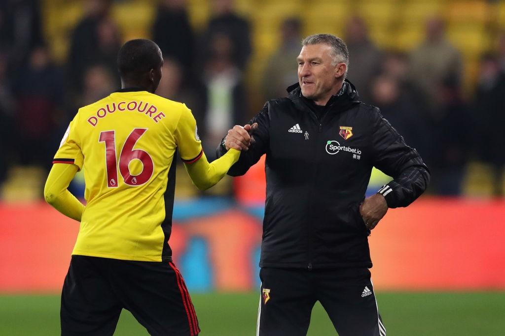 El adelanto de la posición de Docouré en el campo ha sido clave para la mejora del Watford. / Getty Images
