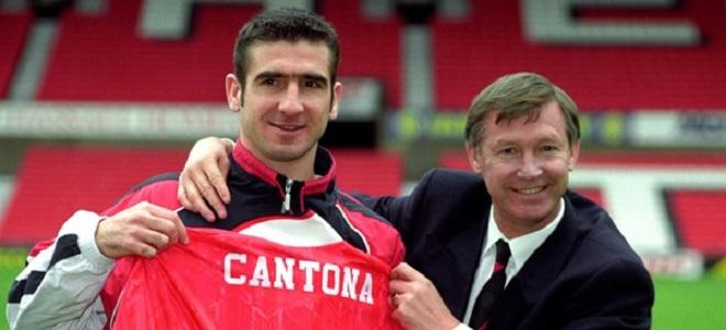 Eric Cantona y Sir Alex Ferguson