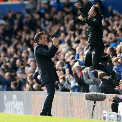 Marco Silva celebrando la victoria ante el West Ham. / Getty Images