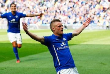 Jamie Vardy celebra un gol